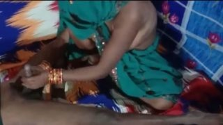 Handjob and cock riding by hot desi maid