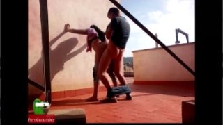Horny Indian couple fucking on terrace