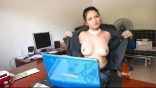 Horny office girl showing her milky boobs