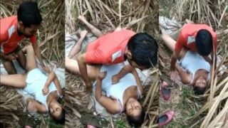 Village couple making out in sugarcane filed